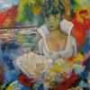 Lady with fan  Hardbord, oil  48х57 2011